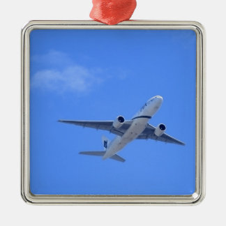 Commercial Airliner Silver-Colored Square Decoration
