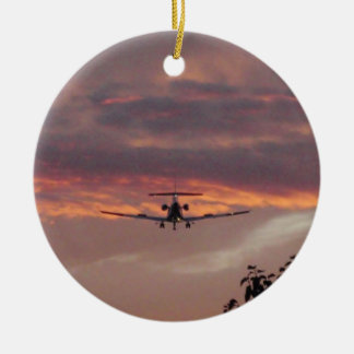 Commercial Jet Landing At Sunset Christmas Ornament