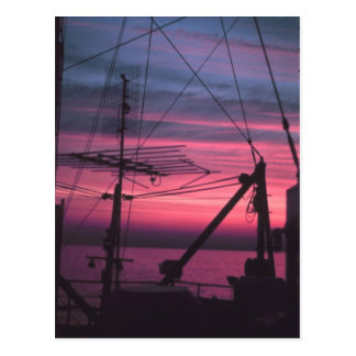 Commercial Riggings with Sunset Postcard