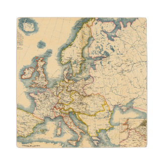 Commerciale Industrial Map of Europe Wood Coaster