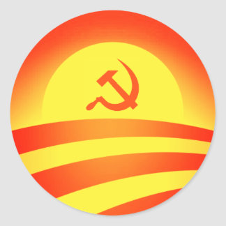 Commie Obama Logo Round Sticker