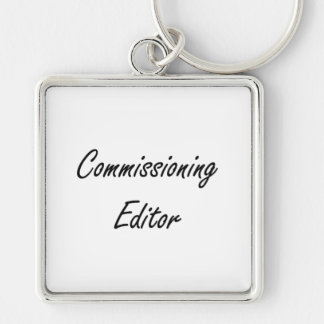Commissioning Editor Artistic Job Design Silver-Colored Square Key Ring