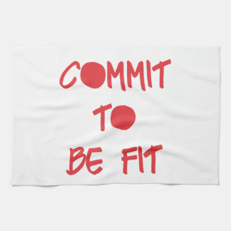 Commit to be Fit Motivational Workout Gym Tea Towels