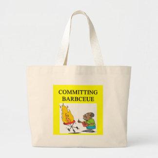 committing barbecue joke canvas bag