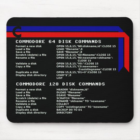 Commodore Disc Commands Mouse Pad