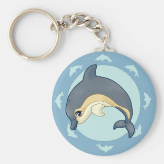 Common dolphin basic round button key ring