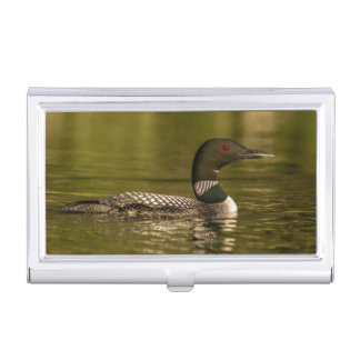 Common Loon Male On Beaver Lake Near Whitefish Business Card Cases