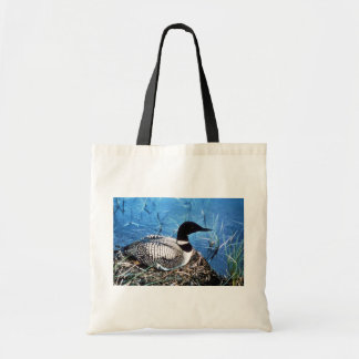 Common Loon on Nest Canvas Bags