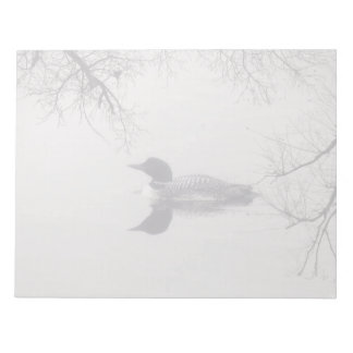 Common Loon Swims in a Northern Lake in Winter Notepad