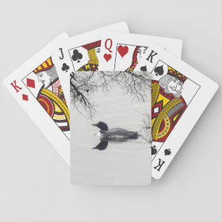 Common Loon Swims in a Northern Lake in Winter Playing Cards