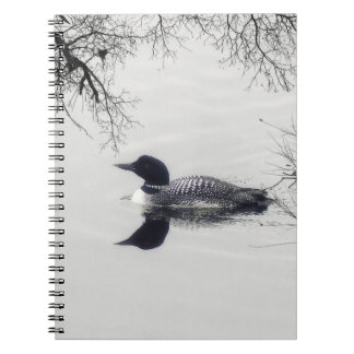 Common Loon Swims in a Northern Lake in Winter Spiral Notebook