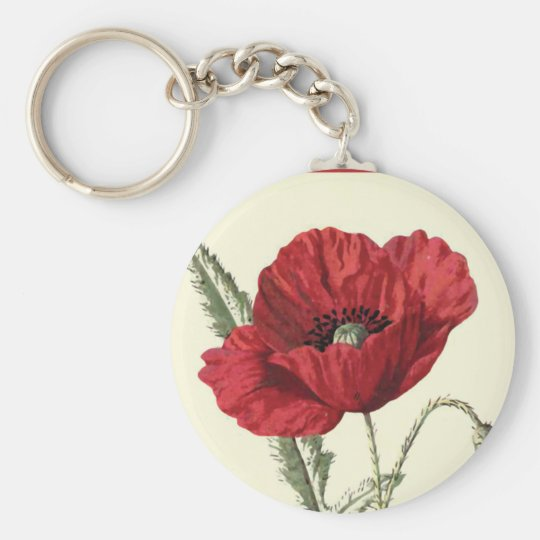 """Common Poppy"" Botanical Illustration Key Ring"