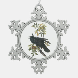 Common Raven by Audubon Snowflake Pewter Christmas Ornament