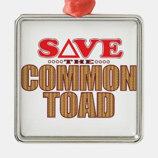 Common Toad Save Silver-Colored Square Decoration