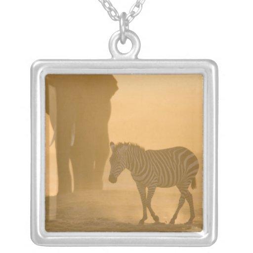 Common Zebra, Equus burchelli, and Elephant, Personalized Necklace