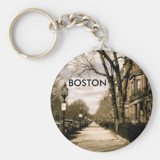 Commonwealth Avenue Neighborhood (sepia) Key Ring