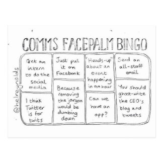 Comms Facepalm Bingo Round 1 Postcard