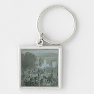Communard Prisoners Escorted to Versailles, 1871 Silver-Colored Square Key Ring