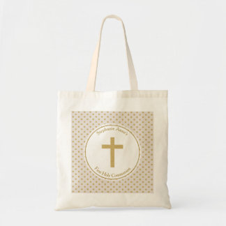 Communion Beige with Gold Polka Dots