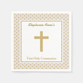 Communion Beige with Gold Polka Dots Disposable Napkin