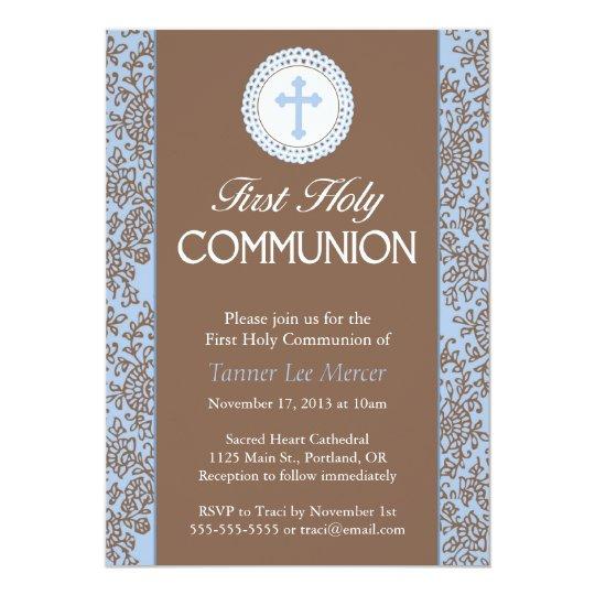 Communion Blue Leaves Card