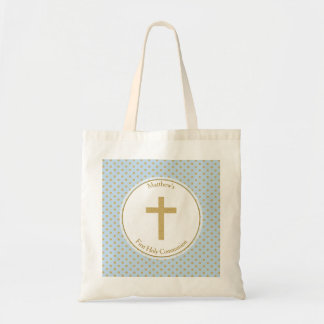 Communion Blue with Gold Polka Dots