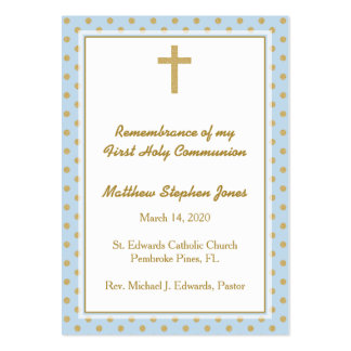 Communion Blue with Gold Polka Dots Pack Of Chubby Business Cards
