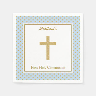 Communion Blue with Gold Polka Dots Paper Napkin