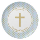 Communion Blue with Gold Polka Dots Plate