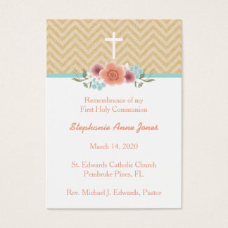 Communion Floral Swag in Gold and Aqua