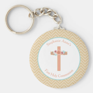 Communion Floral Swag in Gold and Aqua Basic Round Button Key Ring