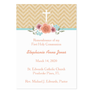 Communion Floral Swag in Gold and Aqua Pack Of Chubby Business Cards
