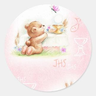 communion for girl classic round sticker