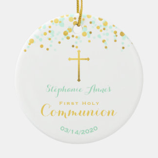 Communion Mint and Gold Confetti Christmas Ornament
