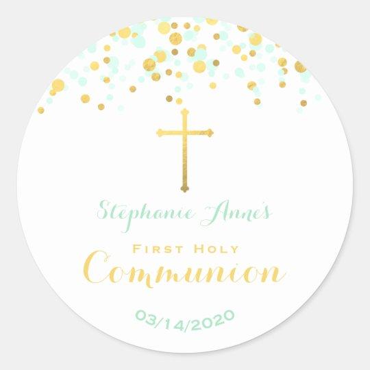 Communion Mint and Gold Confetti Classic Round Sticker