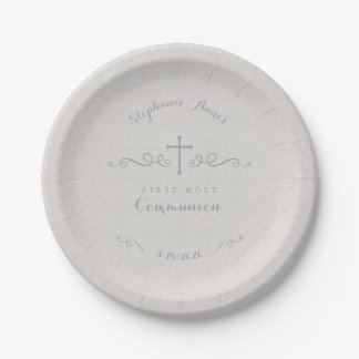 Communion Ornate Cross in Taupe Floral Pattern Paper Plate