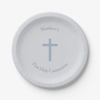 Communion Pastel Blue Cross 7 Inch Paper Plate