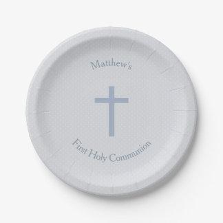 Communion Pastel Blue Cross Paper Plate