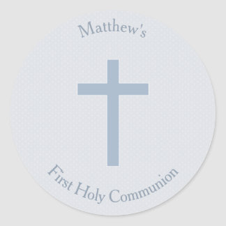 Communion Pastel Blue Cross Round Sticker