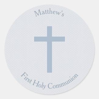 Communion Pastel Blue Cross Round Sticker