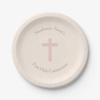 Communion Pastel Pink Cross 7 Inch Paper Plate