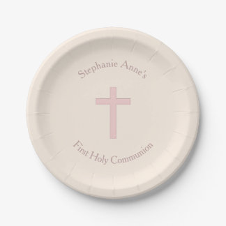 Communion Pastel Pink Cross Paper Plate