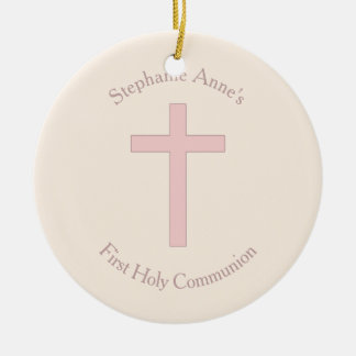 Communion Pastel Pink Cross Round Ceramic Decoration