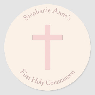 Communion Pastel Pink Cross Round Sticker