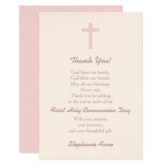 Communion Pastel Pink Cross Thank You Card