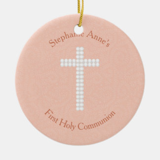 Communion Peach Vines and Stripes Christmas Ornament