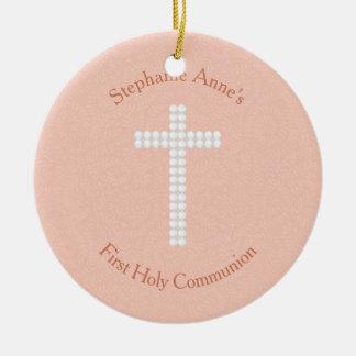 Communion Peach Vines and Stripes Round Ceramic Decoration