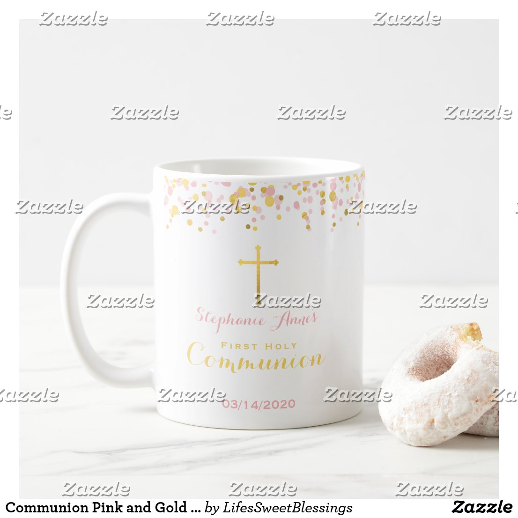 Communion Pink and Gold Confetti Coffee Mug