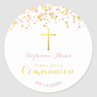 Communion Pink and Gold Confetti Round Sticker