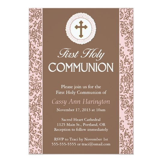 Communion Pink Leaves Invitation